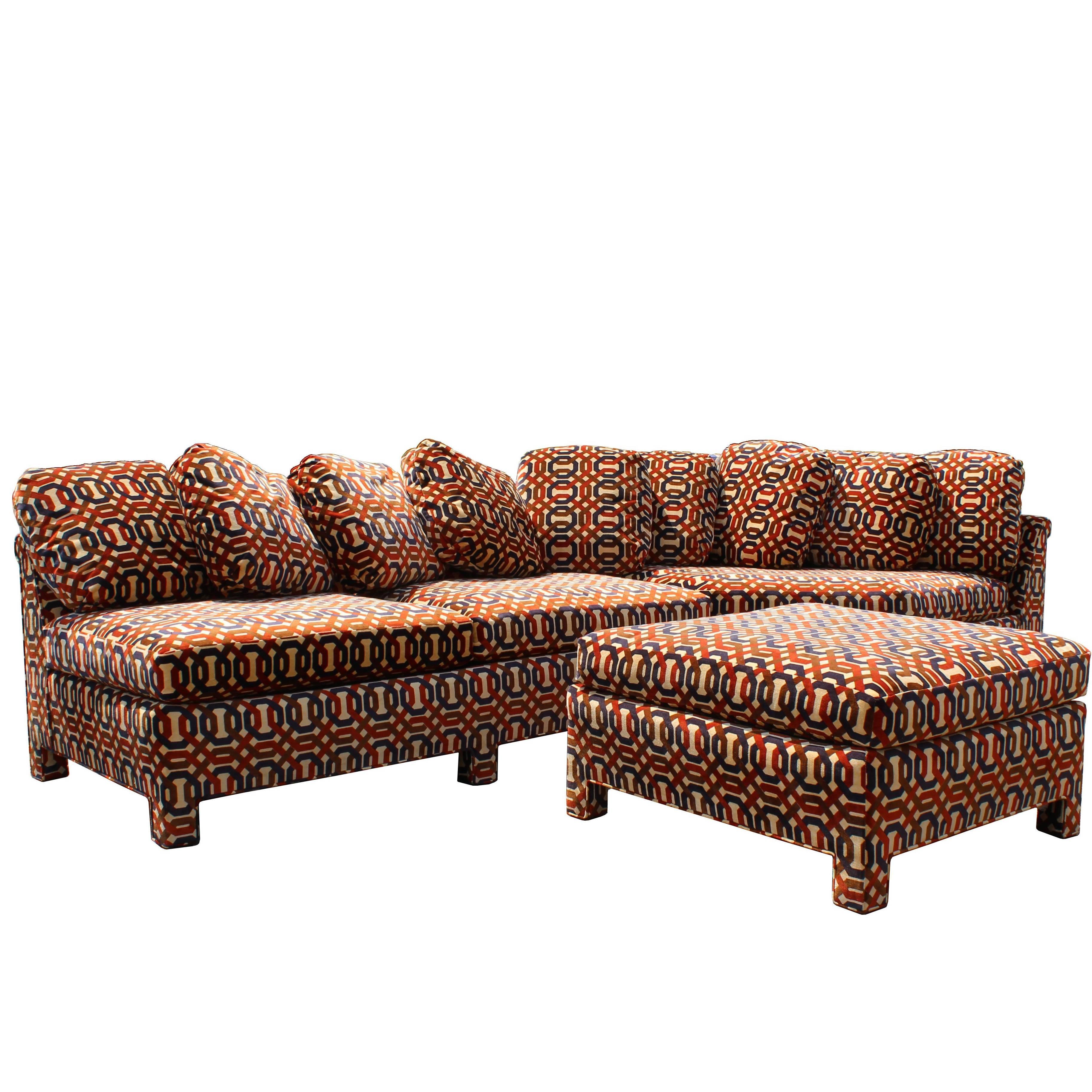 Mid Century Modern John Stuart Erwin Lambeth 2 Piece Sectional Sofa With  Ottoman 1
