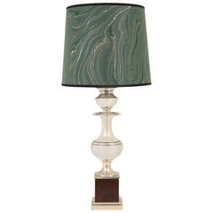 20th Century Silver and Marbled Paper French Lamp