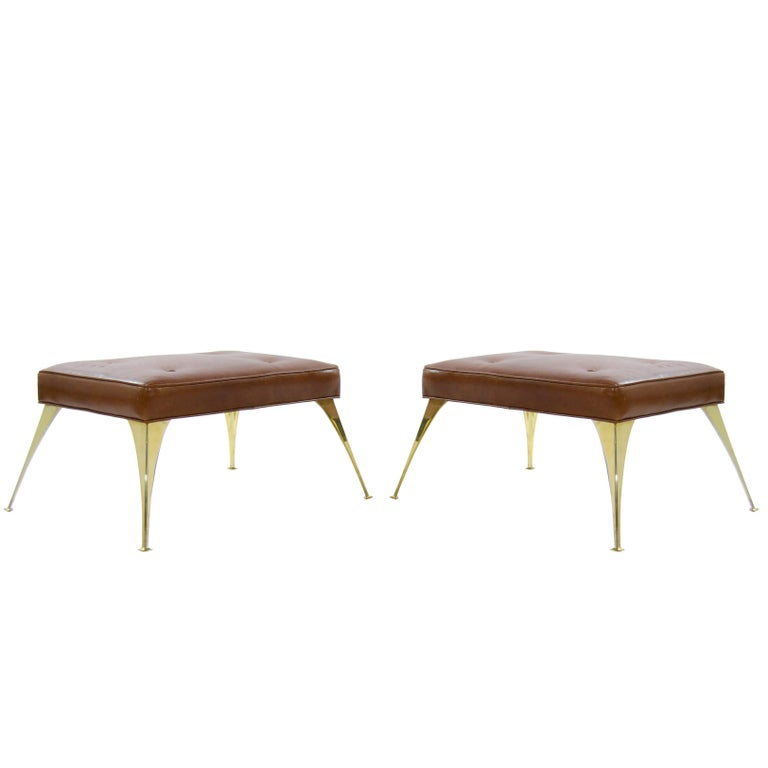 Gio Ponti Style Benches in Cognac Leather