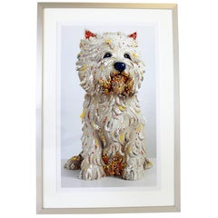Contemporary Jeff Koons Large Framed Dog Lithograph Signed Dated 1999 59/75