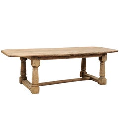 Italian Early 18th Century Bleached Oak Rustic Dining Table with Lovely Aging