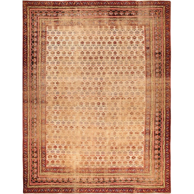 Daisy Garden Shabby Chic Antique Indian Rug For