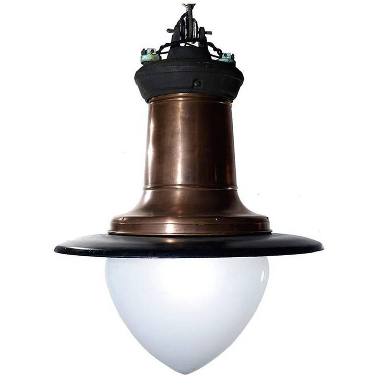 Impressive Copper, Porcelain and Milk Glass Street Lamp For Sale