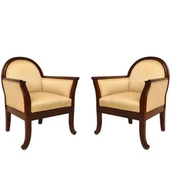 Pair Of Upholstered Mahogany Art Deco Club Chairs