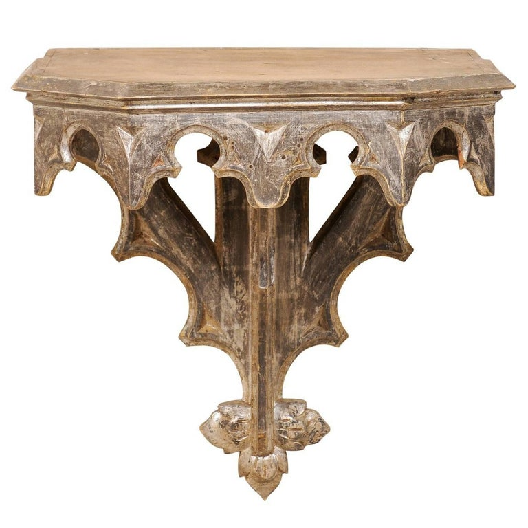 Italian Wall-Mounted Small Table from the Early 19th Century, Metallic Accent