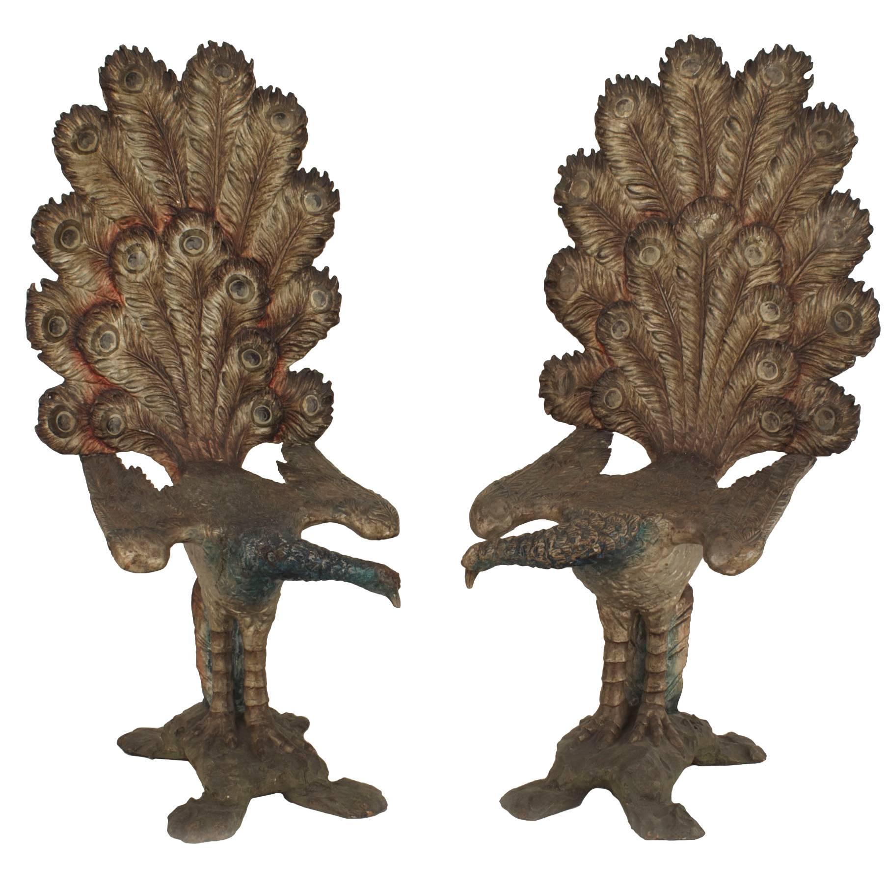 Pair of Italian Venetian Grotto Peacock Side Chairs
