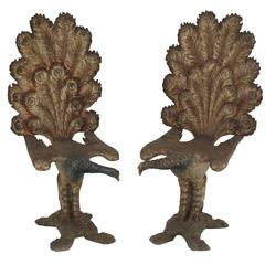 Pair Of 19th c. Italian Silver Gilt Peacock-Form Side Chairs