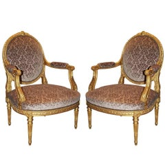Pair of Late 18th Century Italian Louis XVI Giltwood Marquise Armchairs