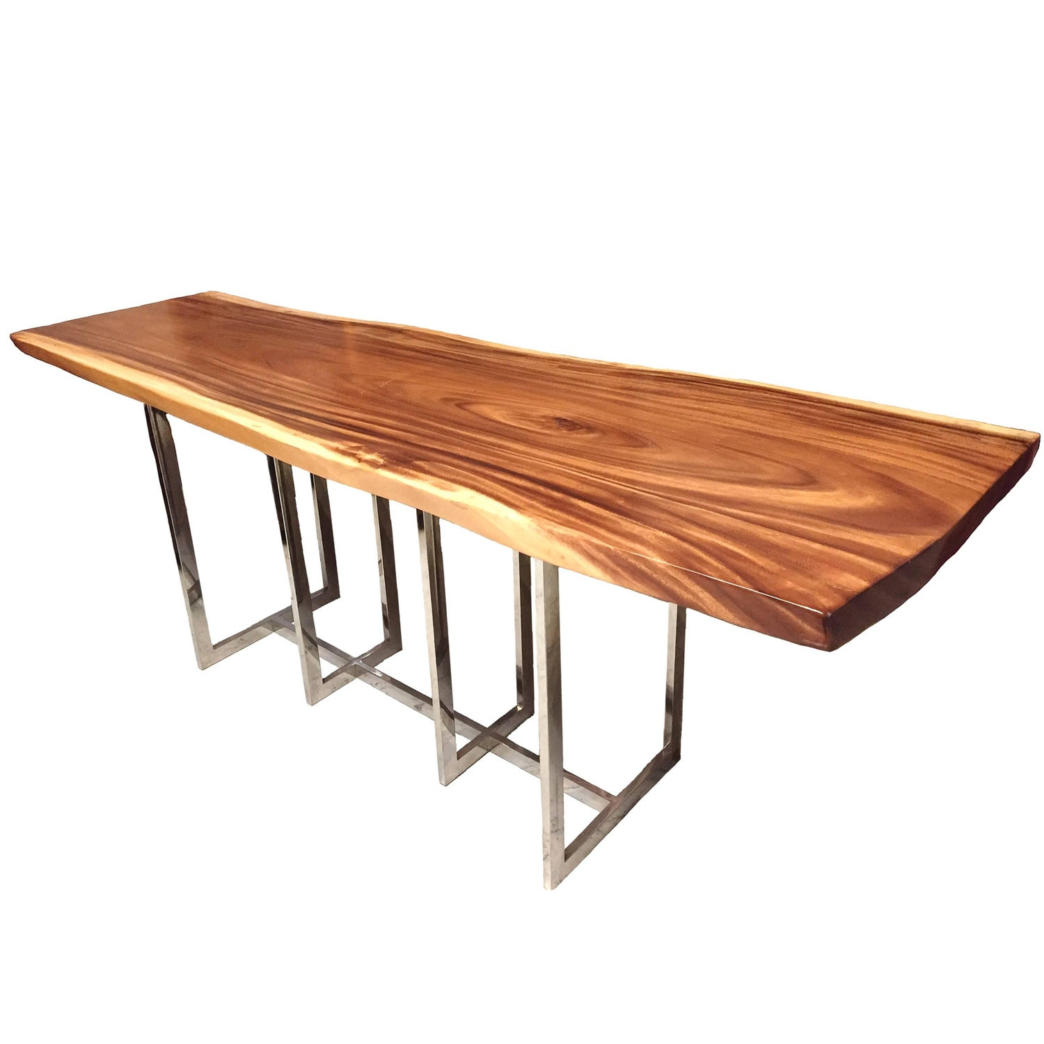 Live Edge Meh Wood Table with Chrome Base For Sale at 1stdibs