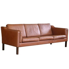 Borge Mogensen Style Three-Seat in Cognac Leather by Stouby Mobler, Denmark