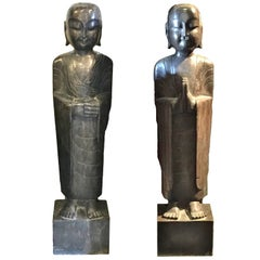 Pair of Stone Monk Statues