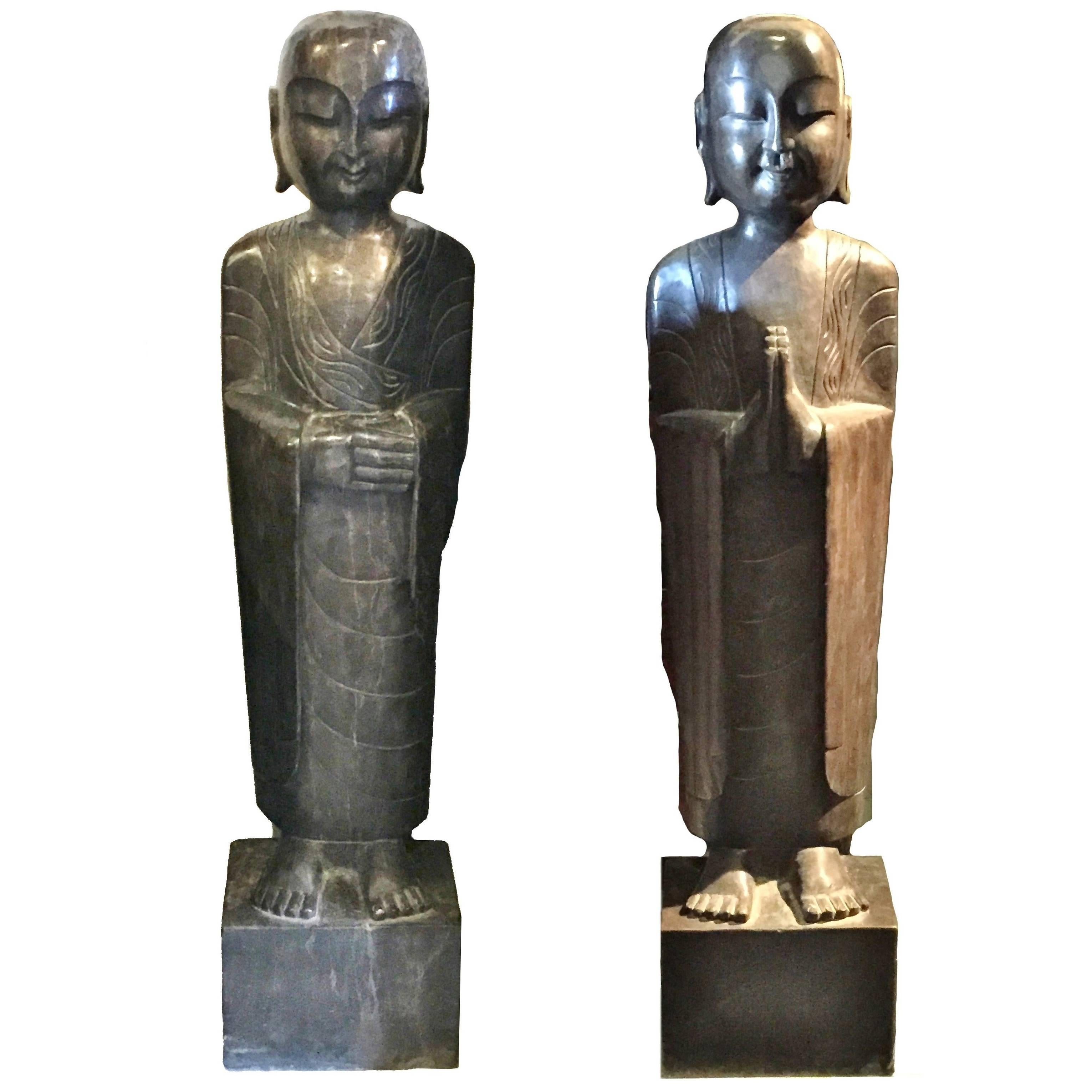 Pair Of Tang Style Stone Monk Statues, Large Zen Garden Statues For Sale