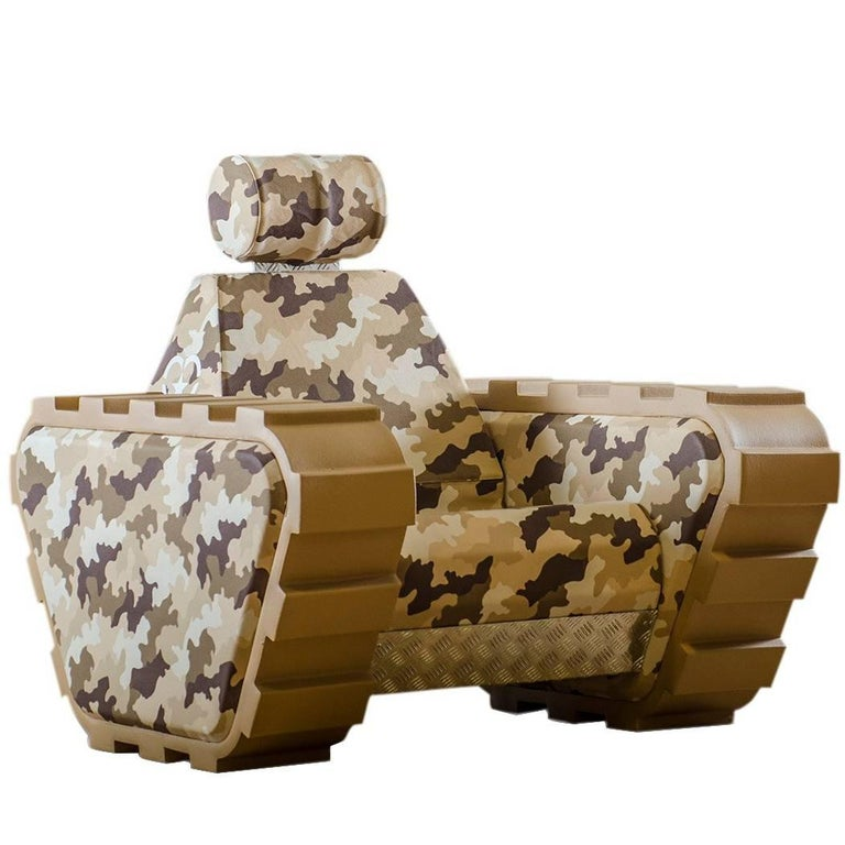 Armchair armychair col handcrafted polyurethane foam for Camo chaise lounge