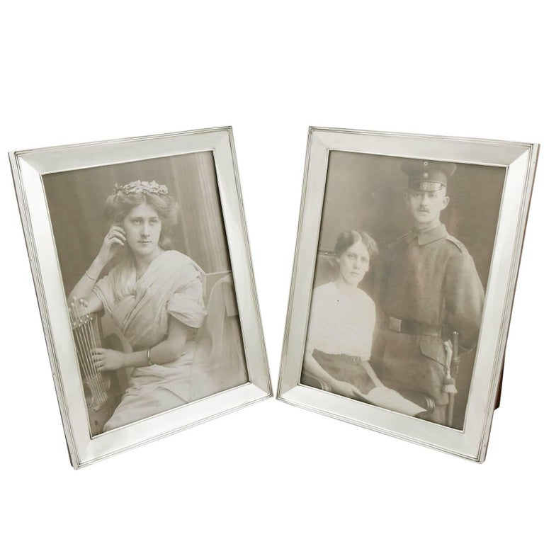 Pair of Sterling Silver Photograph Frames by Henry Matthews, 1910s