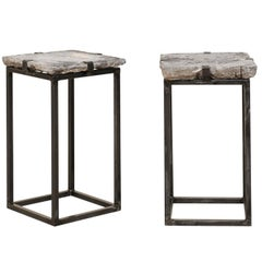 Pair of Antique European Stone Paver Drink Tables on Sleek Custom Metal Bases