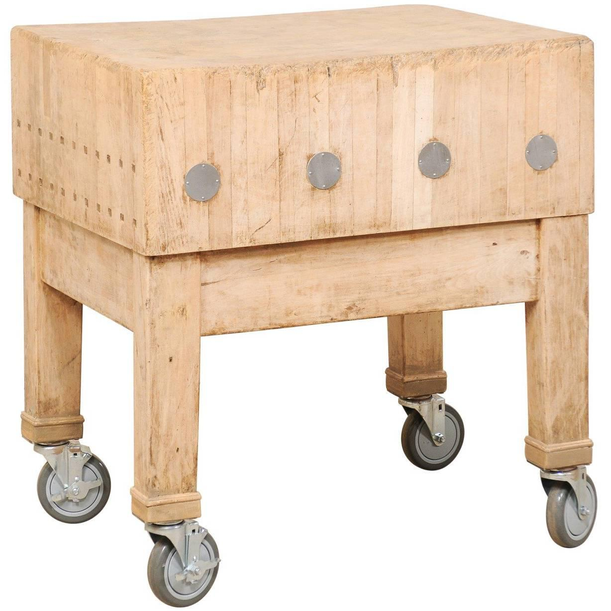 Swedish Vintage Butcher Block Bleached Wood Table With Squared Shape On  Wheels For Sale
