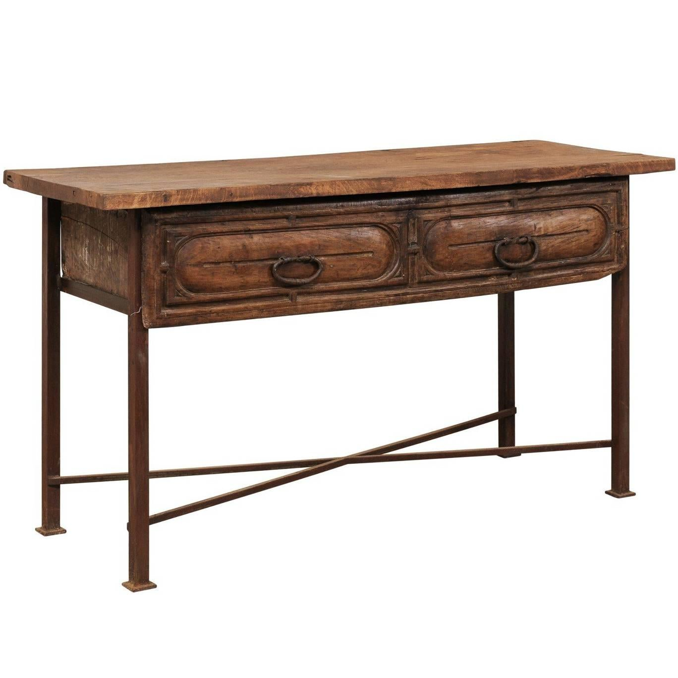 18th century spanish rustic wood and iron console table with spacious drawer