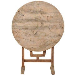 French Natural Light Wood Small Wine Tasting Tilt Top Table with Round Shape