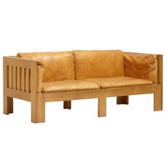 Oak and Leather Sofa by Tage Poulsen