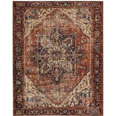Antique Distressed Persian Serapi Rug 7'.10 x 10'.11.