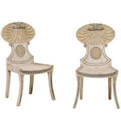 Pair of Vintage Grotto Painted Beige Wood Chairs with Carved Shell Motifs