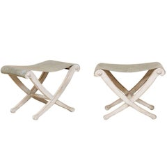 Pair of Italian Carved Wood and Zinc Vintage Seat Stools with X-Crossed Legs