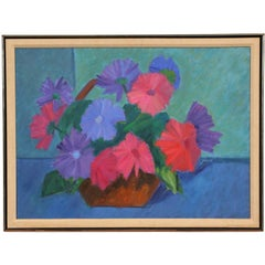 """Florence Zlowe Oil on Canvas Titled """"Basket of Flowers"""""""