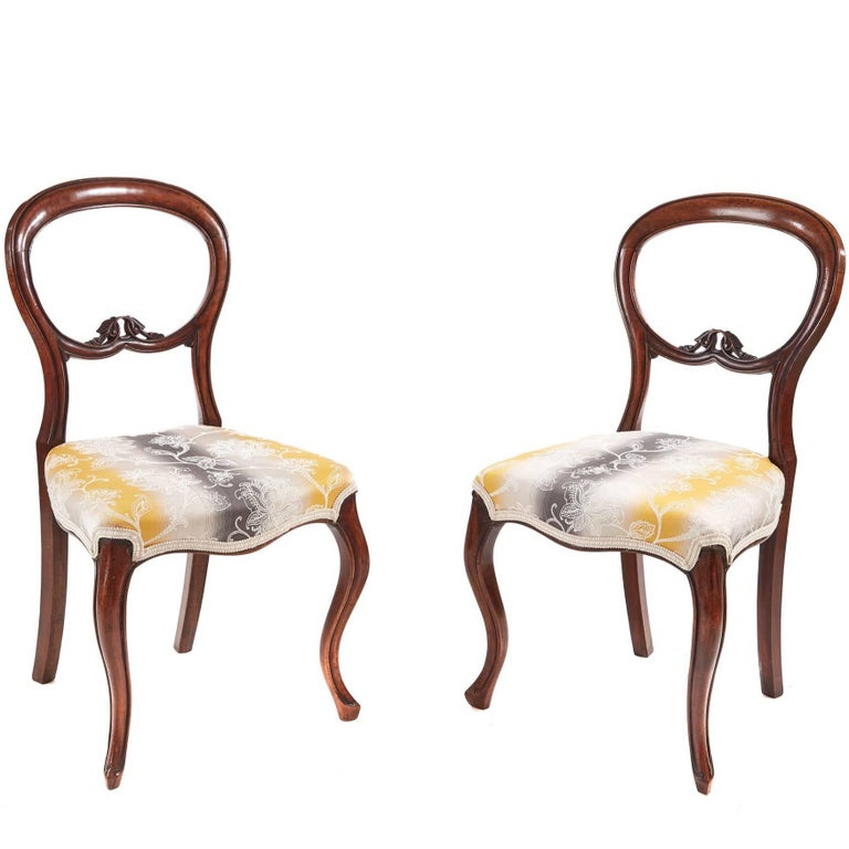 Pair of Victorian Walnut Bedroom Chairs