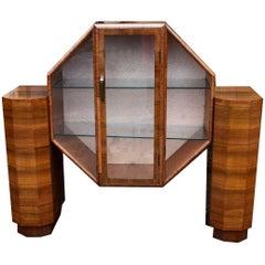 English Rare 1930s Art Deco Display Cabinet