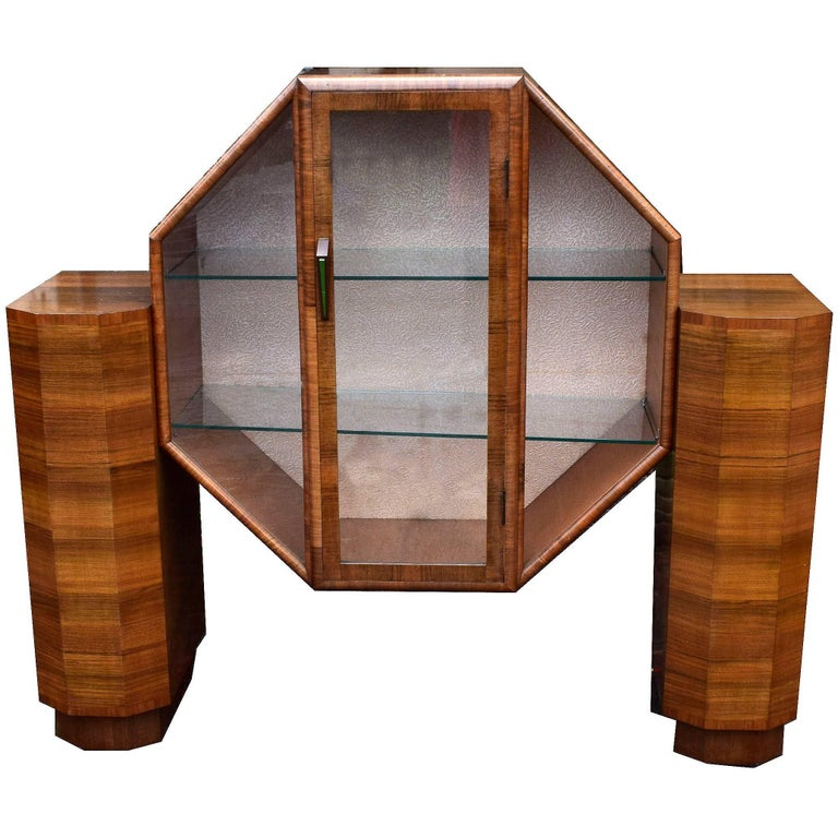 English Rare 1930's Art Deco Vitrine Cabinet