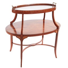 Edwardian Satinwood Inlaid Tray Top Occasional Table or Etagere