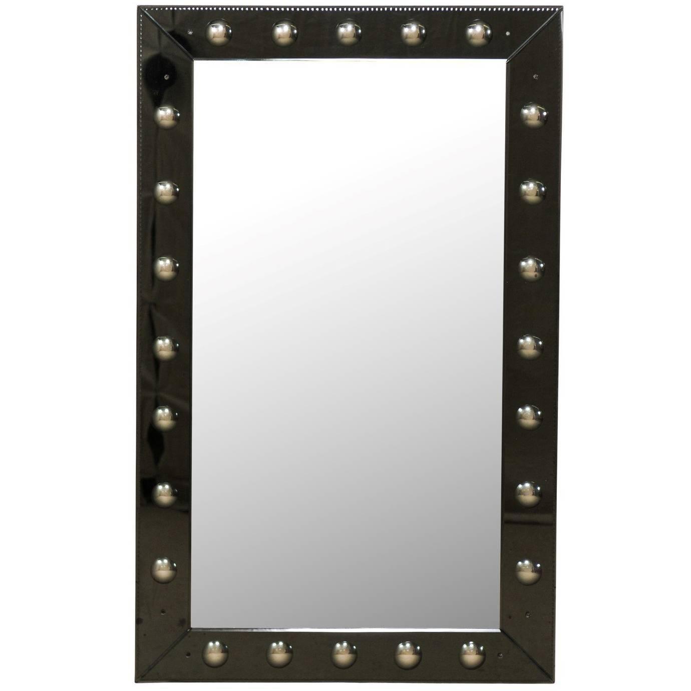 Elegant Vintage Black Rectangular Wall Mirror with Bullseye Pattern Border