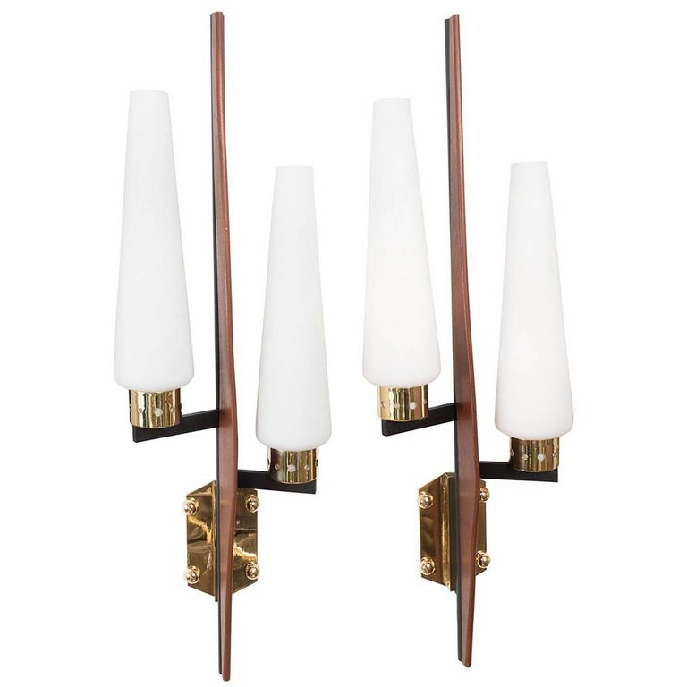 Stylized Two-Arm Sconces For Sale