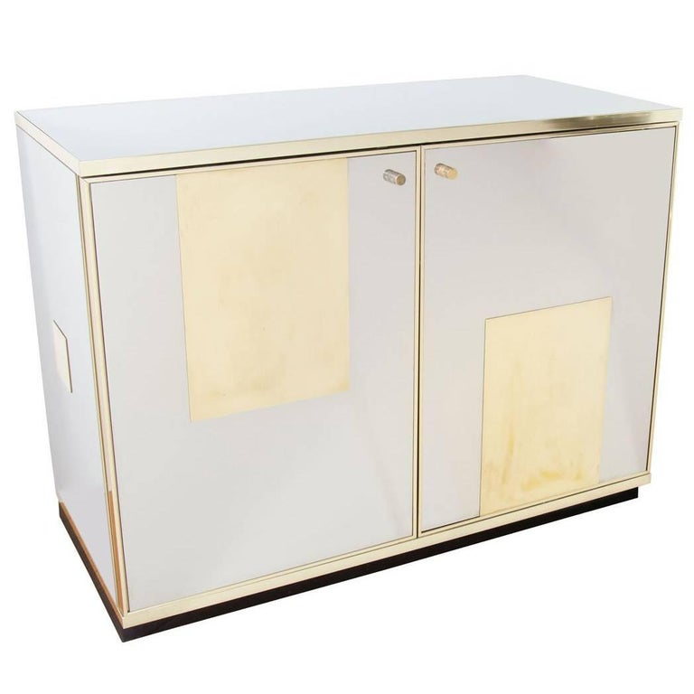 Stainless Steel and Brass Chest For Sale