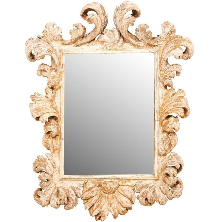 Exquisite Richly Carved 18th Century Italian Mirror with Ornate Acanthus Leaves