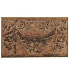 Italian 19th Century Hand-Carved Wood Wall Plaque with Fruit, Swag & Bow Motifs