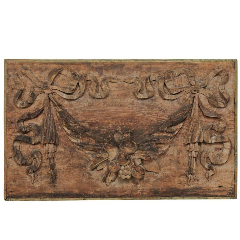 Italian 19th Century Hand-Carved Wood Wall Plaque with Fruit, Swag & Bow Motifs 1
