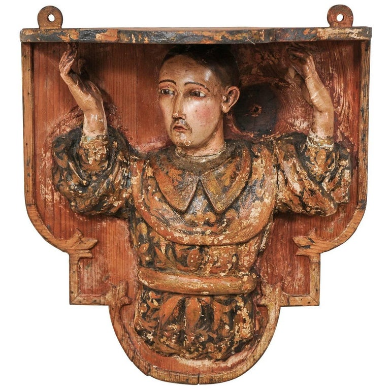 18th Century Spanish St. Ignatius Carved Wood Wall Shelf from Azpeitia, Spain