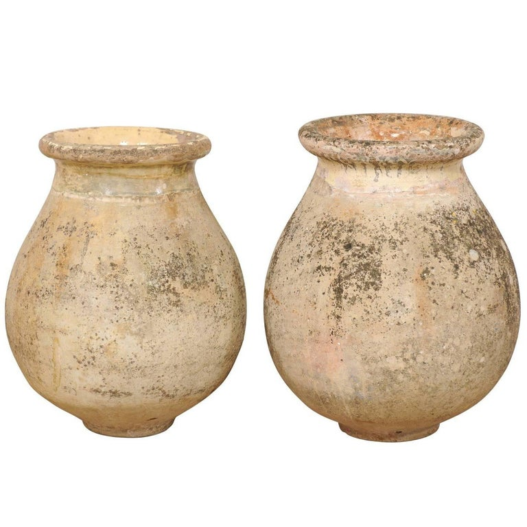 Pair of 19th Century Jars from the Village of Biot, France with Glaze Remains