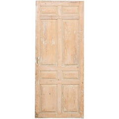 Single French 19th Century, Eight-Panel Door with Natural Pale Wood Finish