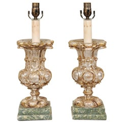 Pair of Italian 19th Century Urn Shaped Wood Table Lamps with Silver Leaf Finish