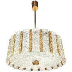Austrian Textured Glass and Brass Chandelier