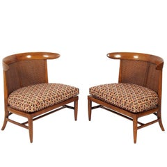 Pair of Curvaceous Caned Back Slipper Chairs by Lubberts & Mulder for Tomlinson