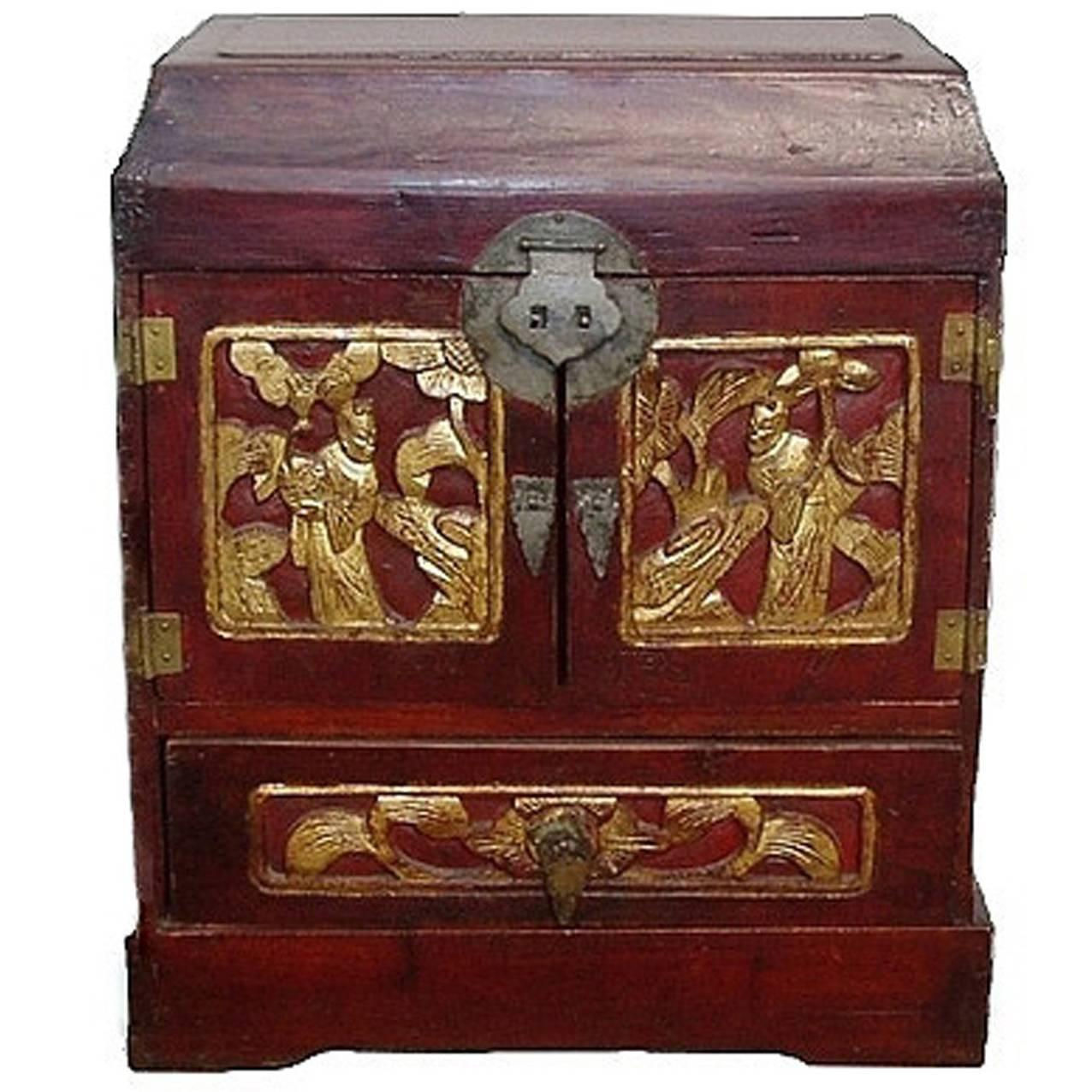 Antique Chinese Jewelry Box with Four Drawers and Gilded Figures