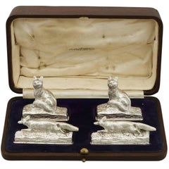 1920s Set of Four Sterling Silver Menu / Card Holders by Garrard & Co Ltd.
