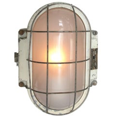 White Industrial Wall Ceiling Lamp, Frosted Glass
