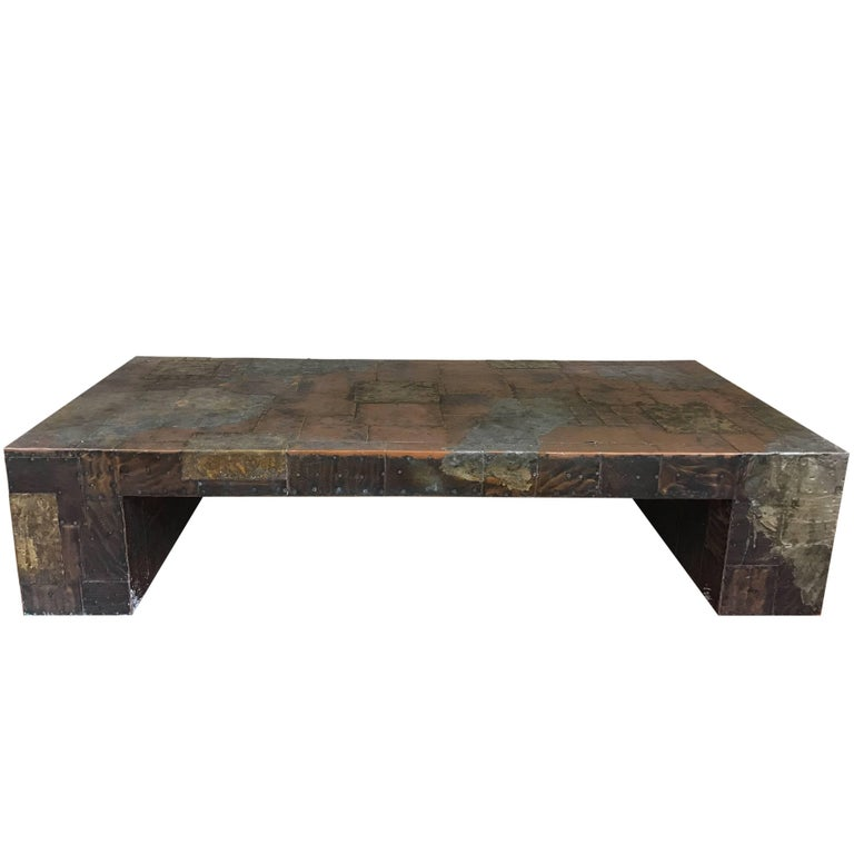 Custom Brass Coffee Table: Custom Paul Evans Copper, Brass And Pewter Cocktail Table