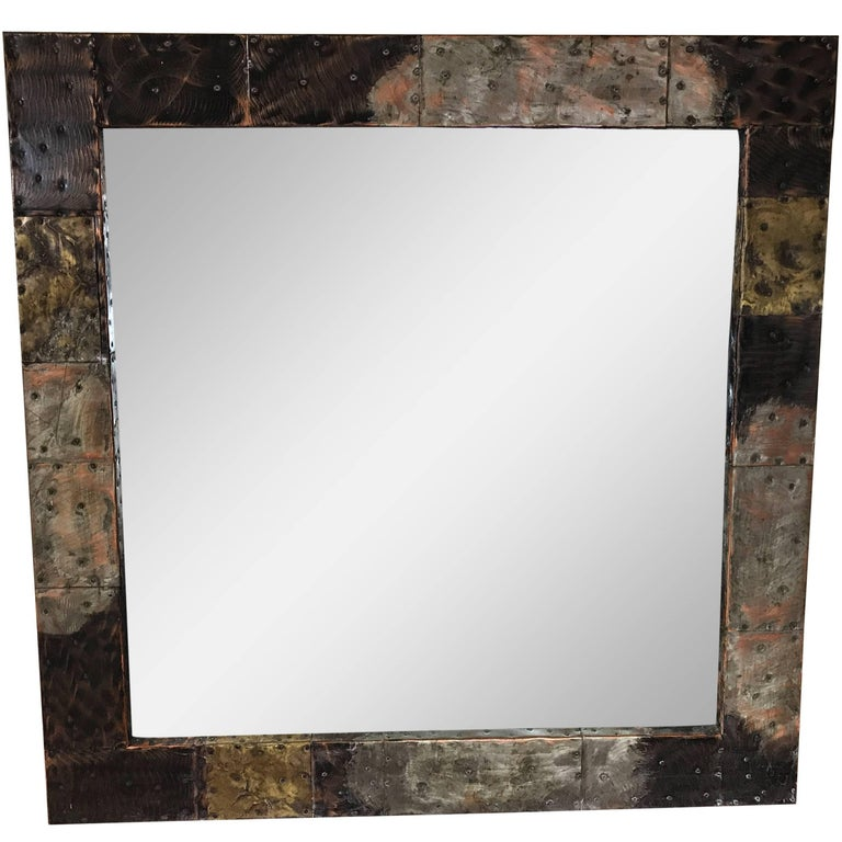 Paul Evans Copper, Brass and Pewter Wall Mirror