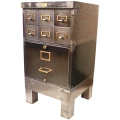 Vintage 1940s Industrial Raw Steel File Cabinet Card Catalog End Table