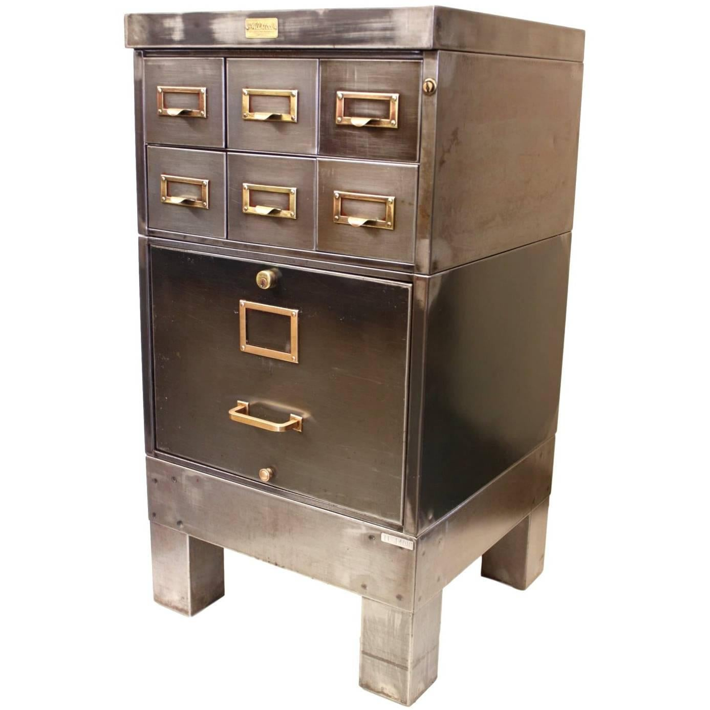 Vintage 1940s Industrial Raw Steel File Cabinet Card Catalog End Table For  Sale